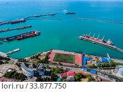 Купить «Краснодарский край, Туапсе, вид сверху на акваторию морского порта», фото № 33877750, снято 27 мая 2020 г. (c) glokaya_kuzdra / Фотобанк Лори
