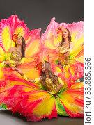 Купить «Showgirls in bright fantastic flowers costume portrait», фото № 33885566, снято 12 апреля 2020 г. (c) Гурьянов Андрей / Фотобанк Лори
