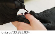 Купить «Manicurist doing manicure for client at beauty salon - painting the nails. Care, beautician.», видеоролик № 33885834, снято 29 мая 2020 г. (c) Алексей Кузнецов / Фотобанк Лори