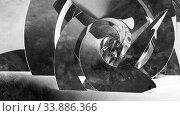 Купить «Abstract cgi background with dark spiral installation, 3d», иллюстрация № 33886366 (c) EugeneSergeev / Фотобанк Лори