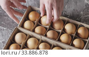 Купить «Woman's hand move the box with chicken eggs and takes one egg from paper container. Slow motion, Full HD video, 240fps, 1080p. Process preparing of homemade bake.», видеоролик № 33886878, снято 8 июля 2020 г. (c) Ярослав Данильченко / Фотобанк Лори