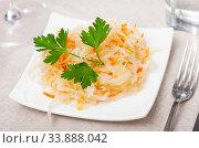 Купить «Tasty sauerkraut with parsley. Traditional russian dish», фото № 33888042, снято 6 июня 2020 г. (c) Яков Филимонов / Фотобанк Лори