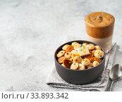 baby cereal pancakes and dalgona coffee. Стоковое фото, фотограф Ольга Сергеева / Фотобанк Лори