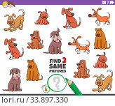 Cartoon Illustration of Finding Two Same Pictures Educational Game for Children with Dogs and Puppies Animal Characters. Стоковое фото, фотограф Zoonar.com/Igor Zakowski / easy Fotostock / Фотобанк Лори