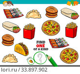 Cartoon Illustration of Find One of a Kind Picture Educational Game with Food Objects. Стоковое фото, фотограф Zoonar.com/Igor Zakowski / easy Fotostock / Фотобанк Лори