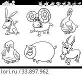 Black and White Cartoon Illustration of Cute Farm Animal Comic Characters Set Coloring Book. Стоковое фото, фотограф Zoonar.com/Igor Zakowski / easy Fotostock / Фотобанк Лори