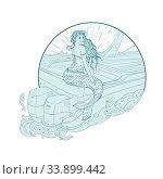 Drawing sketch style illustration of a Mermaid siren Sitting on Boat transom set inside circle on isolated background. Стоковое фото, фотограф Zoonar.com/aloysius patrimonio / easy Fotostock / Фотобанк Лори