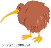 Cartoon Illustration of Kiwi Bird Funny Wild Animal Character. Стоковое фото, фотограф Zoonar.com/Igor Zakowski / easy Fotostock / Фотобанк Лори