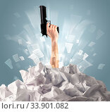 Купить «Hand coming out from a huge paper pile», фото № 33901082, снято 4 июля 2020 г. (c) easy Fotostock / Фотобанк Лори