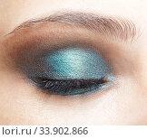 Купить «Closeup macro shot of closed human female eye. Girl with perfect skin and blue eyes shadows», фото № 33902866, снято 8 мая 2020 г. (c) Serg Zastavkin / Фотобанк Лори