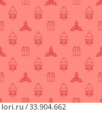Купить «Vector red monochrome outline new year christmas holly santa claus ribboned gift box seamless pattern on pink background», фото № 33904662, снято 5 июля 2020 г. (c) easy Fotostock / Фотобанк Лори