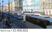 Купить «View on Nevsky Prospeсt (main street of St. Petersburg, Russia). Вид на Невский проспект в солнечный летний день», видеоролик № 33908802, снято 10 августа 2018 г. (c) FotograFF / Фотобанк Лори