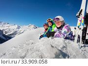 Three children portrait with ski over mountain top. Стоковое фото, фотограф Сергей Новиков / Фотобанк Лори