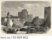Historic Bahla Fort located at Djebel Akhdar highlands. Sultanate of Oman, Middle East, Old 19th century engraved illustration, Le Tour du Monde 1863. Стоковое фото, фотограф Jerónimo Alba / age Fotostock / Фотобанк Лори