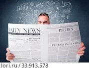 Купить «Young smart businessman reading daily newspaper with business plan graphics above his head», фото № 33913578, снято 4 июля 2020 г. (c) easy Fotostock / Фотобанк Лори