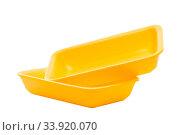 Купить «Foamed polystyrene food container on white background», фото № 33920070, снято 23 февраля 2020 г. (c) Константин Лабунский / Фотобанк Лори