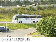 Купить «LONDON - AUGUST 18, 2017: National Express Bus in London», фото № 33929018, снято 18 августа 2017 г. (c) Nataliia Zhekova / Фотобанк Лори