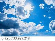 Купить «Голубое небо. Dramatic blue sky background. Picturesque colorful clouds lit by sunlight», фото № 33929218, снято 19 мая 2020 г. (c) Зезелина Марина / Фотобанк Лори
