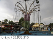 Купить «View of a deserted fairground amid COVID-19 Coronavirus threats in Jakarta, Indonesia, May 10, 2020. Jakarta's local government enforces the closure of...», фото № 33933310, снято 10 мая 2020 г. (c) age Fotostock / Фотобанк Лори
