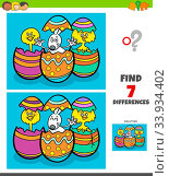 Cartoon Illustration of Finding Differences Between Pictures Educational Game for Children with Easter Bunny and Chick Characters. Стоковое фото, фотограф Zoonar.com/Igor Zakowski / easy Fotostock / Фотобанк Лори