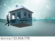 Купить «Mortgage repayment failure concept with man», фото № 33934778, снято 10 июля 2020 г. (c) Elnur / Фотобанк Лори