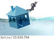Купить «Mortgage repayment failure concept with man», фото № 33934794, снято 10 июля 2020 г. (c) Elnur / Фотобанк Лори