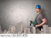 Купить «Handyman with tool in his hand and cityscape nearby.», фото № 33937470, снято 5 июля 2020 г. (c) easy Fotostock / Фотобанк Лори