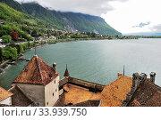 The Chillon castle in Montreux. Geneva lake, Switzerland (2012 год). Стоковое фото, фотограф Александр Карпенко / Фотобанк Лори