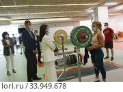 Купить «King Felipe VI of Spain, Queen Letizia of Spain visit High Performance Center (CAR) at Consejo Superior de Deportes Facilities on June 8, 2020 in Madrid, Spain», фото № 33949678, снято 8 июня 2020 г. (c) age Fotostock / Фотобанк Лори