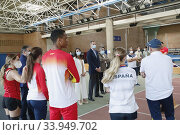Купить «King Felipe VI of Spain, Queen Letizia of Spain visit High Performance Center (CAR) at Consejo Superior de Deportes Facilities on June 8, 2020 in Madrid, Spain», фото № 33949702, снято 8 июня 2020 г. (c) age Fotostock / Фотобанк Лори