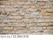 Купить «Beige old brick wall background grunge texture», фото № 33960918, снято 10 мая 2020 г. (c) Ирина Аринина / Фотобанк Лори