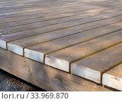 Фрагмент пола деревянной террасы. Стоковое фото, фотограф Вячеслав Палес / Фотобанк Лори