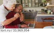 Купить «Senior African American husband and mixed race wife happily working on a laptop at home», видеоролик № 33969954, снято 19 февраля 2020 г. (c) Wavebreak Media / Фотобанк Лори
