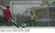 Купить «African American soccer kid in red scoring in a sunny day», видеоролик № 33970126, снято 18 октября 2019 г. (c) Wavebreak Media / Фотобанк Лори