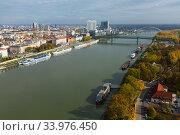 Aerial view of Bratislava with Danube (2017 год). Стоковое фото, фотограф Яков Филимонов / Фотобанк Лори