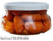 Closed jar with sausages. Стоковое фото, фотограф Яков Филимонов / Фотобанк Лори