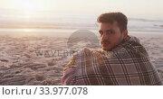 Portrait of a Caucasian man enjoying time at the beach. Стоковое видео, агентство Wavebreak Media / Фотобанк Лори