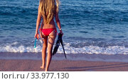 Купить «Slow motion walk over sand along sea water», видеоролик № 33977130, снято 29 мая 2020 г. (c) Gennadiy Poznyakov / Фотобанк Лори