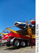 Купить «Germany, Bremen - Showmen have set up a carousel for the TUEV acceptance», фото № 33983994, снято 23 апреля 2020 г. (c) Caro Photoagency / Фотобанк Лори