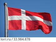 Berlin, Germany, National Flag of Denmark. Редакционное фото, агентство Caro Photoagency / Фотобанк Лори