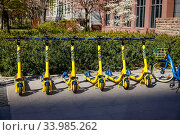 Electric scooters from Wind, Frankfurt am Main, Hesse, Germany. Редакционное фото, агентство Caro Photoagency / Фотобанк Лори