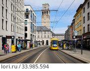 City view with city hall, North Rhine-Westphalia, Muelheim an der Ruhr, Ruhr Area, Germany (2020 год). Редакционное фото, агентство Caro Photoagency / Фотобанк Лори