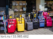 Купить «Suitcase shop sells travel suitcases in times of the Corona pandemic with travel warning, Muelheim an der Ruhr, Ruhr area, North Rhine-Westphalia, Germany», фото № 33985602, снято 19 мая 2020 г. (c) Caro Photoagency / Фотобанк Лори