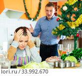 Купить «Couple quarreling at home», фото № 33992670, снято 13 июля 2020 г. (c) Яков Филимонов / Фотобанк Лори