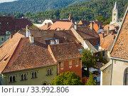 Купить «Cityscape from Sighisoara clock tower, Romania», фото № 33992806, снято 16 сентября 2017 г. (c) Яков Филимонов / Фотобанк Лори