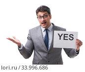 Купить «Businessman in positive yes answer isolated on white background», фото № 33996686, снято 29 мая 2017 г. (c) Elnur / Фотобанк Лори