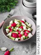 Купить «Radish, cucumber, kiwi, cheese and dill salad in a bowl on gray grunge concrete background. Seasonal Cooking, food styling.», фото № 34019178, снято 11 апреля 2019 г. (c) Nataliia Zhekova / Фотобанк Лори