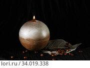 Купить «Decorative Handmade sphere candle.», фото № 34019338, снято 25 декабря 2015 г. (c) Nataliia Zhekova / Фотобанк Лори