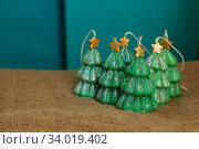 handmade Souvenir candles in the shape of Christmas trees. Стоковое фото, фотограф Nataliia Zhekova / Фотобанк Лори