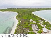 Купить «Aerial view of Eco camp on Wizard Island on Cosmoledo Atoll, Seychelles», фото № 34019862, снято 5 июля 2020 г. (c) Nature Picture Library / Фотобанк Лори